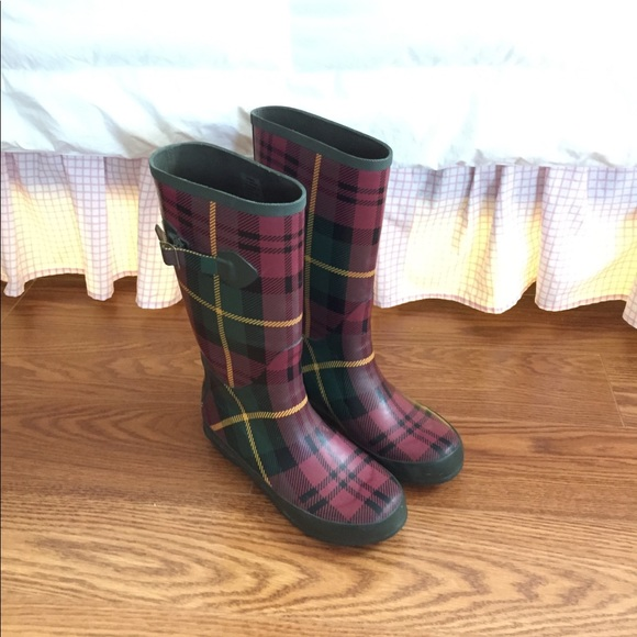 c4dd6a8a04b L.L. Bean 7 Plaid Tartan Rubber Rain Boots Wellies